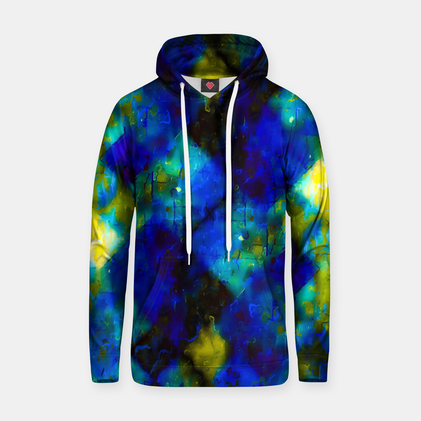 Image of geometric square pixel pattern abstract background in blue yellow green Hoodie - Live Heroes