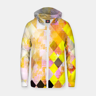 geometric square pixel pattern abstract background in yellow green pink orange Zip up hoodie thumbnail image