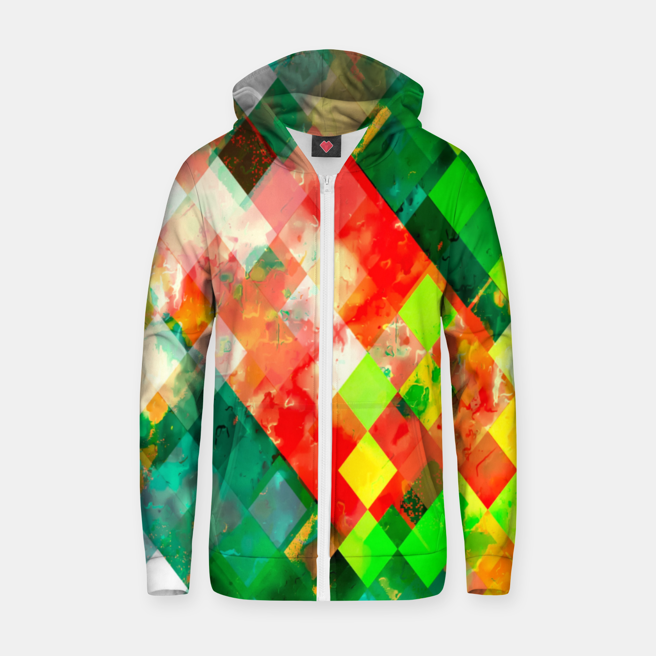 Image of geometric square pixel pattern abstract background in green red yellow Zip up hoodie - Live Heroes