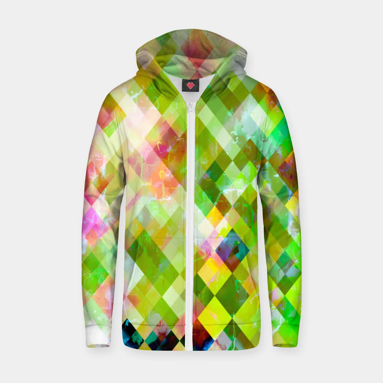 Image of geometric square pixel pattern abstract background in green pink yellow blue Zip up hoodie - Live Heroes