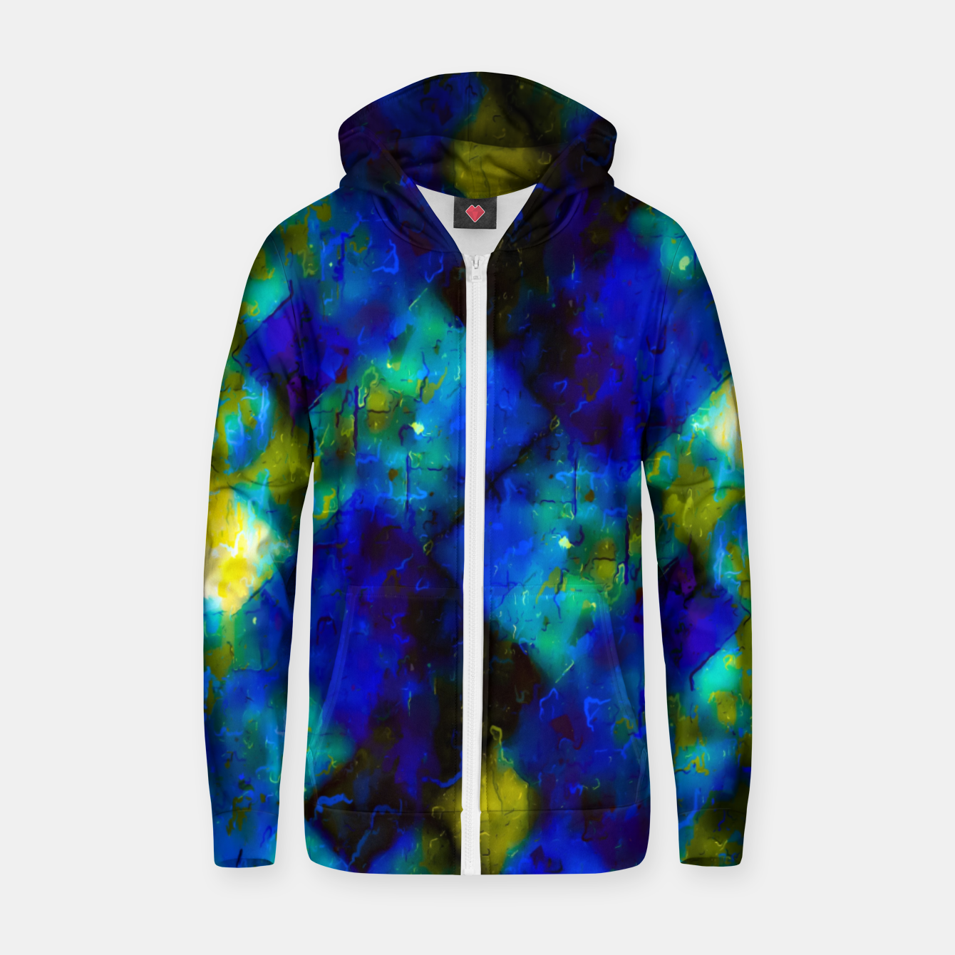 Image of geometric square pixel pattern abstract background in blue yellow green Zip up hoodie - Live Heroes