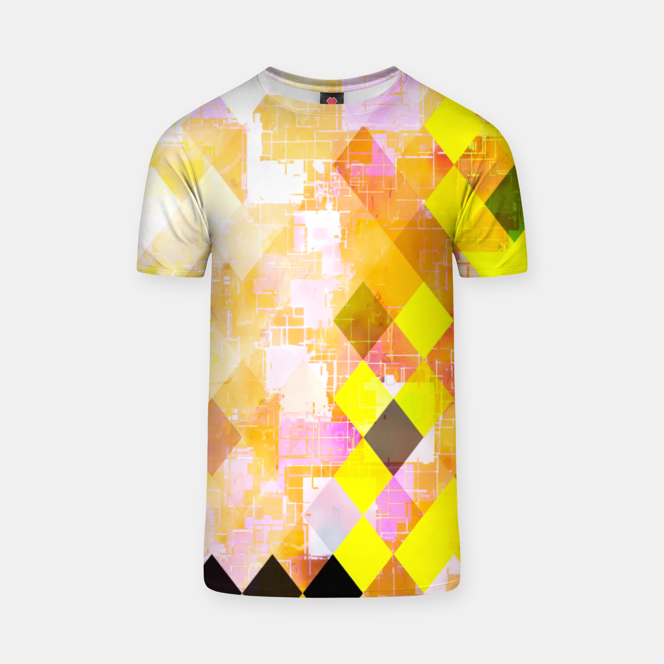 Image of geometric square pixel pattern abstract background in yellow green pink orange T-shirt - Live Heroes