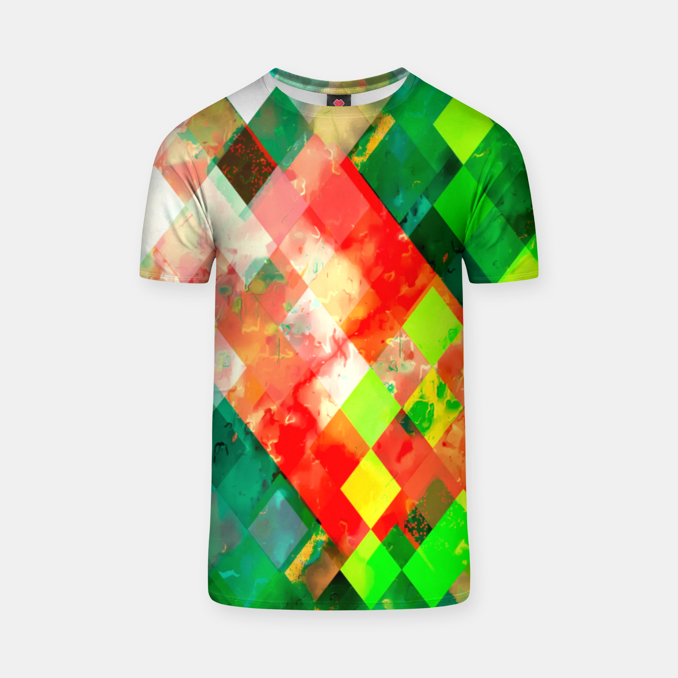 Image of geometric square pixel pattern abstract background in green red yellow T-shirt - Live Heroes