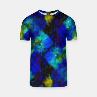 geometric square pixel pattern abstract background in blue yellow green T-shirt thumbnail image