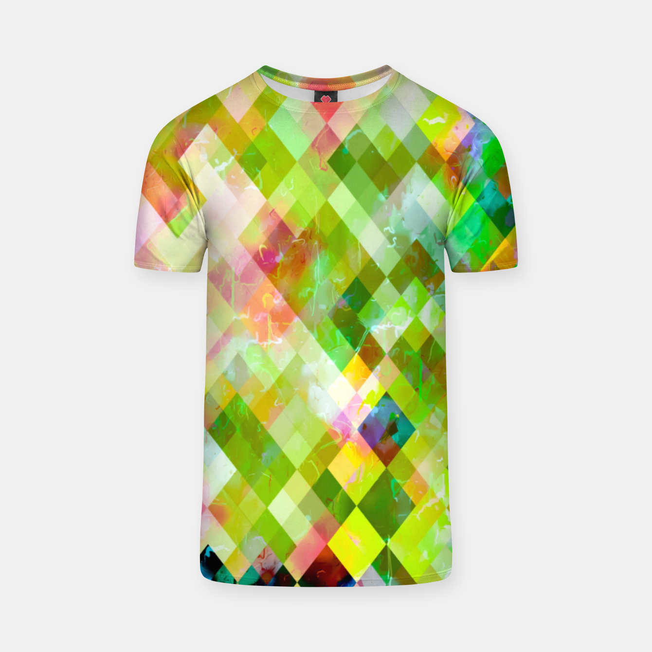 Image of geometric square pixel pattern abstract background in green pink yellow blue T-shirt - Live Heroes