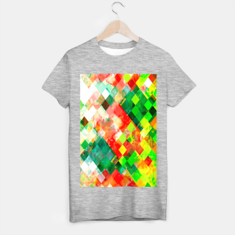 geometric square pixel pattern abstract background in green red yellow T-shirt regular thumbnail image