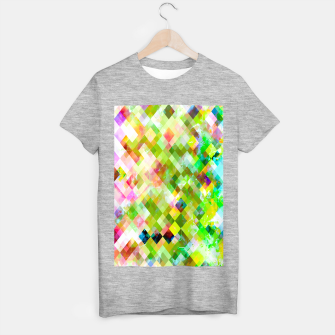 geometric square pixel pattern abstract background in green pink yellow blue T-shirt regular thumbnail image