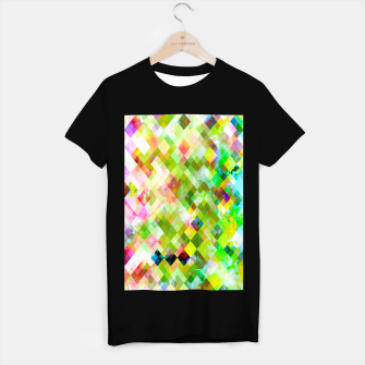 Miniaturka geometric square pixel pattern abstract background in green pink yellow blue T-shirt regular, Live Heroes