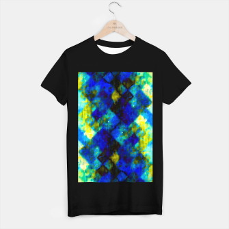 Miniaturka geometric square pixel pattern abstract background in blue yellow green T-shirt regular, Live Heroes