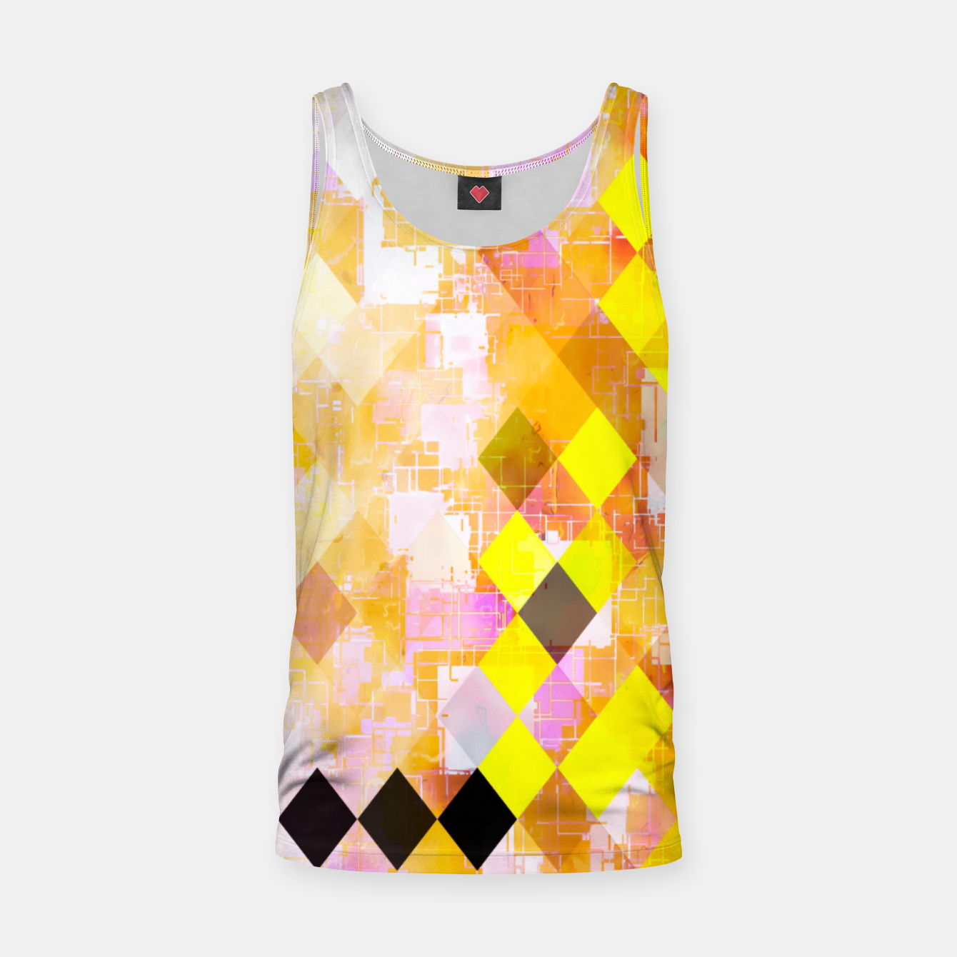 Image of geometric square pixel pattern abstract background in yellow green pink orange Tank Top - Live Heroes