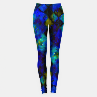geometric square pixel pattern abstract background in blue yellow green Leggings thumbnail image
