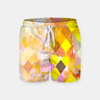 geometric square pixel pattern abstract background in yellow green pink orange Swim Shorts thumbnail image