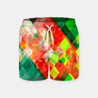 geometric square pixel pattern abstract background in green red yellow Swim Shorts thumbnail image