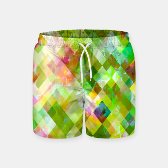 geometric square pixel pattern abstract background in green pink yellow blue Swim Shorts thumbnail image