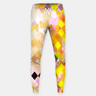 geometric square pixel pattern abstract background in yellow green pink orange Sweatpants thumbnail image
