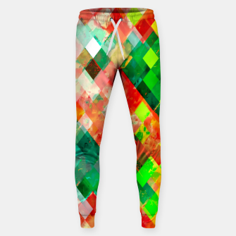 geometric square pixel pattern abstract background in green red yellow Sweatpants thumbnail image
