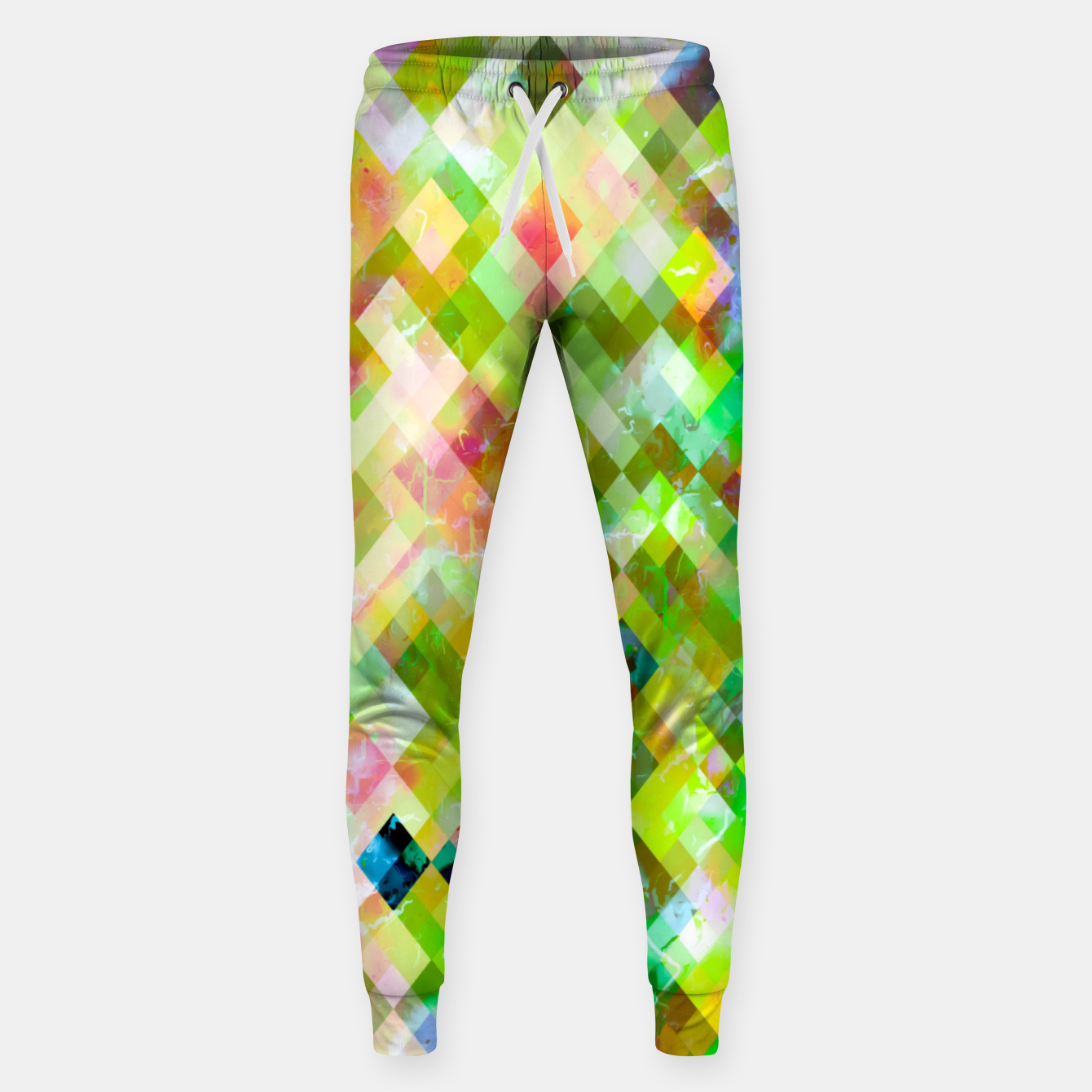 Image of geometric square pixel pattern abstract background in green pink yellow blue Sweatpants - Live Heroes