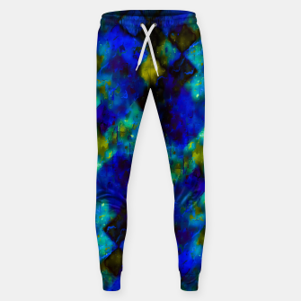 geometric square pixel pattern abstract background in blue yellow green Sweatpants thumbnail image