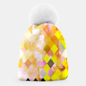 geometric square pixel pattern abstract background in yellow green pink orange Beanie thumbnail image