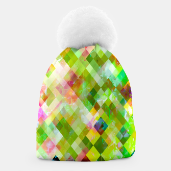 geometric square pixel pattern abstract background in green pink yellow blue Beanie thumbnail image