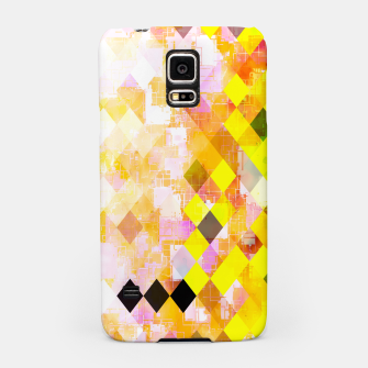 Miniatur geometric square pixel pattern abstract background in yellow green pink orange Samsung Case, Live Heroes