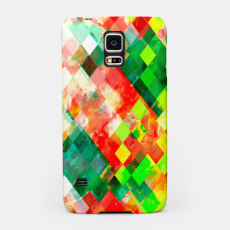 Miniatur geometric square pixel pattern abstract background in green red yellow Samsung Case, Live Heroes