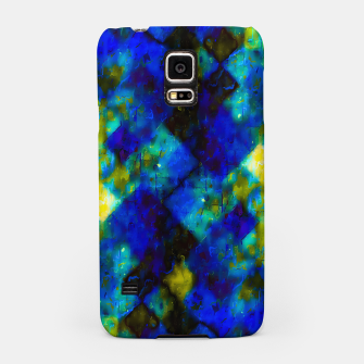 Miniatur geometric square pixel pattern abstract background in blue yellow green Samsung Case, Live Heroes