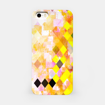 Imagen en miniatura de geometric square pixel pattern abstract background in yellow green pink orange iPhone Case, Live Heroes
