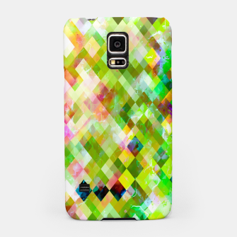 Miniatur geometric square pixel pattern abstract background in green pink yellow blue Samsung Case, Live Heroes