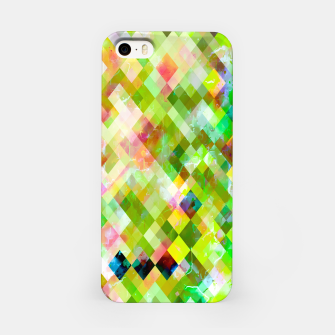 geometric square pixel pattern abstract background in green pink yellow blue iPhone Case thumbnail image