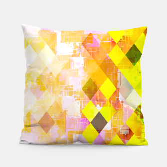 geometric square pixel pattern abstract background in yellow green pink orange Pillow thumbnail image