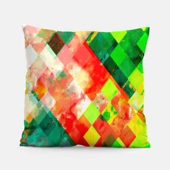 geometric square pixel pattern abstract background in green red yellow Pillow thumbnail image