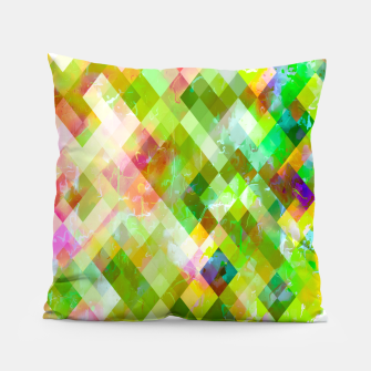 geometric square pixel pattern abstract background in green pink yellow blue Pillow thumbnail image