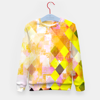 Imagen en miniatura de geometric square pixel pattern abstract background in yellow green pink orange Kid's sweater, Live Heroes