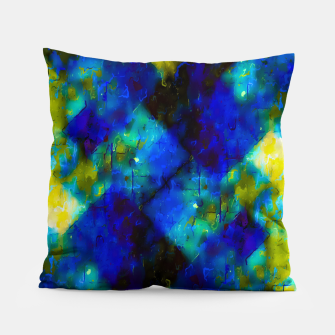 geometric square pixel pattern abstract background in blue yellow green Pillow thumbnail image