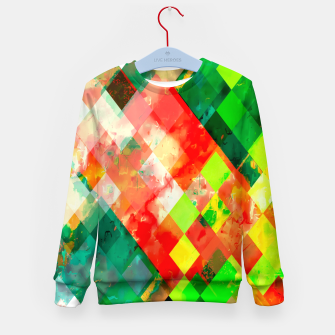 Imagen en miniatura de geometric square pixel pattern abstract background in green red yellow Kid's sweater, Live Heroes