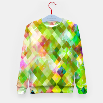 geometric square pixel pattern abstract background in green pink yellow blue Kid's sweater thumbnail image
