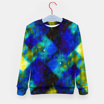 Imagen en miniatura de geometric square pixel pattern abstract background in blue yellow green Kid's sweater, Live Heroes