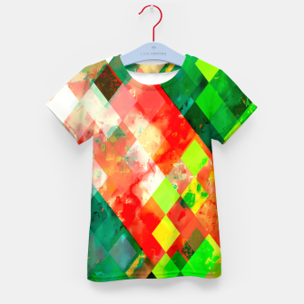 Imagen en miniatura de geometric square pixel pattern abstract background in green red yellow Kid's t-shirt, Live Heroes
