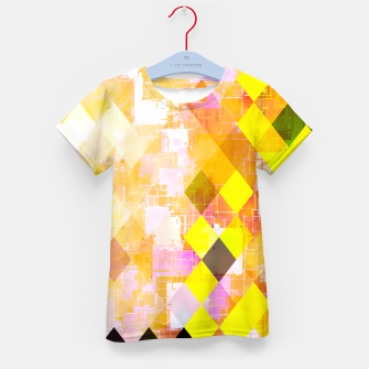 geometric square pixel pattern abstract background in yellow green pink orange Kid's t-shirt thumbnail image