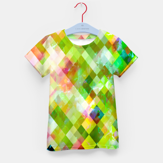 geometric square pixel pattern abstract background in green pink yellow blue Kid's t-shirt thumbnail image