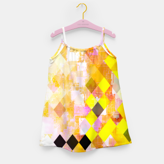 Miniature de image de geometric square pixel pattern abstract background in yellow green pink orange Girl's dress, Live Heroes