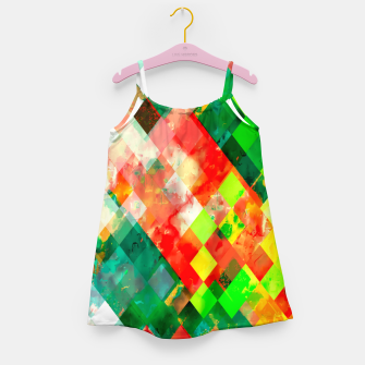 Miniature de image de geometric square pixel pattern abstract background in green red yellow Girl's dress, Live Heroes