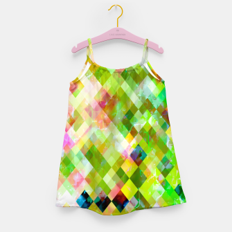 geometric square pixel pattern abstract background in green pink yellow blue Girl's dress thumbnail image