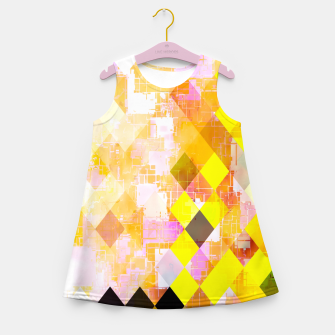 geometric square pixel pattern abstract background in yellow green pink orange Girl's summer dress thumbnail image