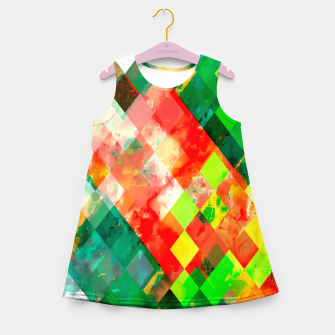 Miniatur geometric square pixel pattern abstract background in green red yellow Girl's summer dress, Live Heroes