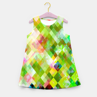 geometric square pixel pattern abstract background in green pink yellow blue Girl's summer dress thumbnail image