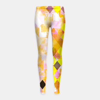 geometric square pixel pattern abstract background in yellow green pink orange Girl's leggings thumbnail image