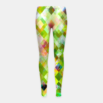 geometric square pixel pattern abstract background in green pink yellow blue Girl's leggings thumbnail image