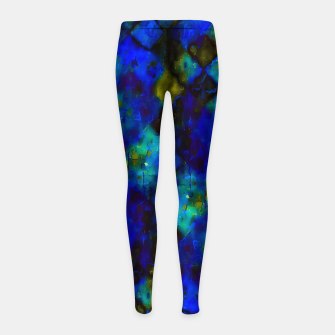 geometric square pixel pattern abstract background in blue yellow green Girl's leggings thumbnail image